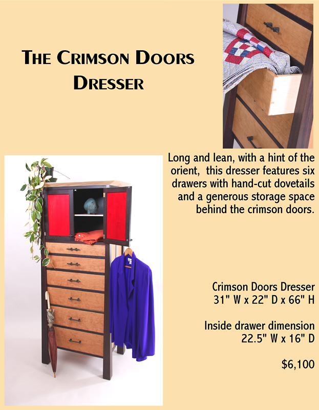 The Crimson Doors Dresser: Long and lean, with a hint of the orient, this dresser features six drawers with hand-cut dovetails and a generous storage space behind crimson doors.